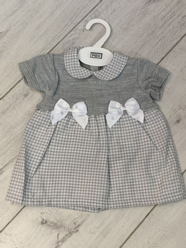 Grey Gingham Print Dress